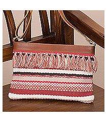 leather accent cotton blend shoulder bag, 'breeze on the mesa' (peru)