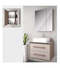 gabinete para banheiro suspenso 65cm 2 gavetas lilies móveis