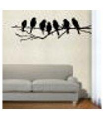adesivo de parede floral 27 (pássaros no galho) - médio