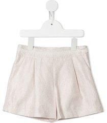 abel & lula check print lace trim shorts - pink