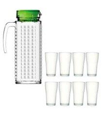kit 1 jarra de vidro ladrilhos verde 1,2l e 8 copos de vidro sture móveis