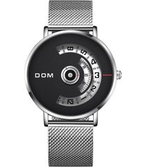 reloj hombre giratorio dom 1303 dial grande cuarzo acero