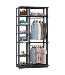 closet modulado be mobiliário clothes 7 prateleiras 2 cabideiros