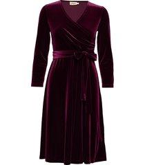 cia velvet jurk knielengte paars jumperfabriken