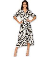 ax paris wrap around print midi dress