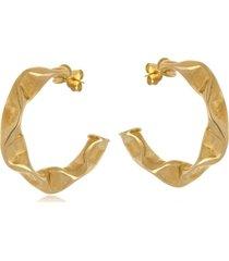 argola le diamond amassada dourada - tricae
