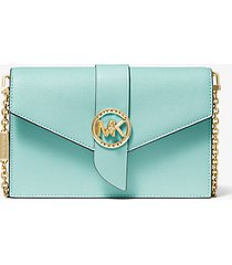 mk borsa a tracolla media convertibile in pelle - fair aqua - michael kors