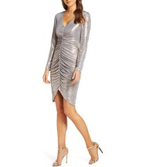 women's vince camuto ruched metallic long sleeve cocktail dress, size 8 - metallic