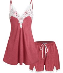 plus size applique panel pajama cami top and shorts set