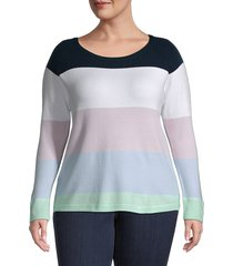 french connection women's plus babysoft colorblock sweater - icy multi - size 1x (14-16)