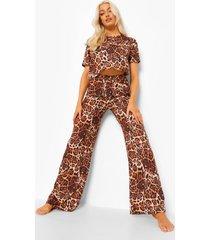 mix & match luipaardprint pyjama broek, brown