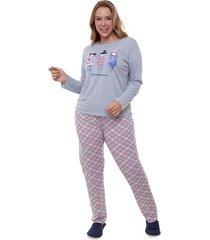 pijama longo plus size best friends feminino adulto luna cuore