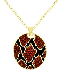 "essentials crystal animal print disc pendant necklace in gold-plate, 16"" + 2"" extender"
