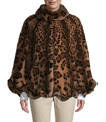 made for generation leopard-print dyed mink fur cape