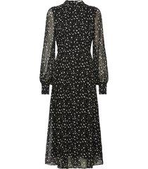 flared dress midi length knälång klänning svart ivy & oak