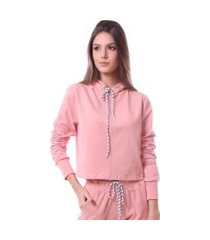 blusa simony lingerie manga longa com touca delicotton rosa