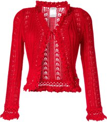 chanel pre-owned crochet cardigan - red