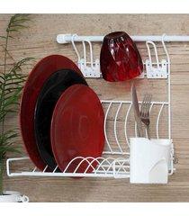 escorredor de louça suspenso parede com porta talheres e porta copos