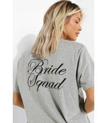 bride squad t-shirt met rugopdruk, grey marl