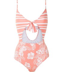 track & field essence tf power printed swimsuit - pink