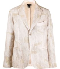 avant toi distressed single-breasted blazer - neutrals