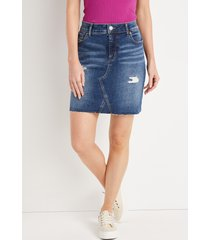maurices womens vintage high rise ripped blue denim skirt