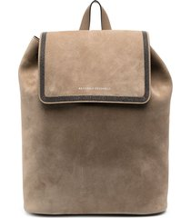 brunello cucinelli suede drawstring backpack - neutrals