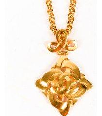 chanel vintage gold tone cc pendant necklace gold/logo sz: