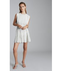 reiss sofia - striped mini dress in white/green, womens, size 14