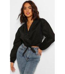 katoenen blouse met strik, zwart