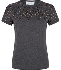 jacky luxury grijs t-shirt met leopard spots aan de bovenzijde
