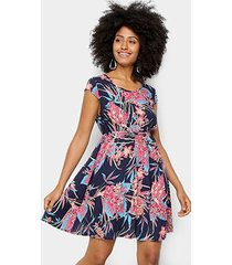 vestido curto lily fashion tropical evasê