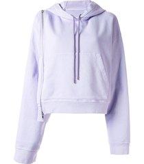 maison margiela zip-detail hoodie - purple