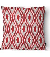 almofada decorativa realce 080 40x40cm bege e vermelha