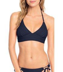 women's robin piccone lily halter bikini top, size small - blue
