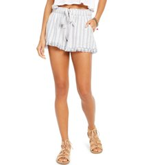 rewash juniors' striped tie-front raw-edged shorts