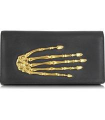 bernard delettrez designer handbags, black nappa leather pochette w/skeleton hand