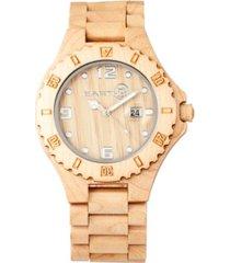 earth wood raywood wood bracelet watch w/date khaki 47mm