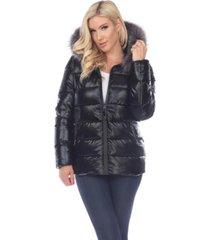 white mark women's metallic puffer coat with hoodie