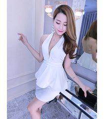 pf242 sexy deep v bust blouse, open back, stretchable cotton, size s,m,l, white