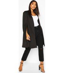 tall longline cape blazer, black