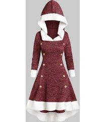 hooded faux fur trim mock button high low midi dress