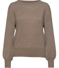 balloon sleeve sweater stickad tröja brun davida cashmere