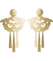 natori hammeredss swirl fringe clip earrings, women's