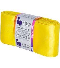 fita de cetim nº12 50mm peça com 10m amarelo ouro