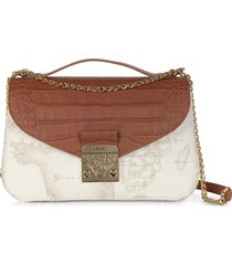 alviero martini 1a classe designer handbags, jolie white coated canvas & embossed croco leather shoulder bag