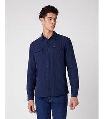 overhemd lange mouw wrangler chemise wranger à poches navy
