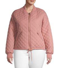 betsey johnson performance women's plus reversible bomber jacket - blush - size 1x (14-16)