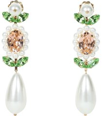 crystal embellished pear drop earrings