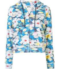 kenzo x vans floral zipped hoodie - blue